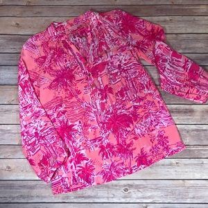 Lilly Pulitzer Elsa Palm Tree Silk Top. NWOT